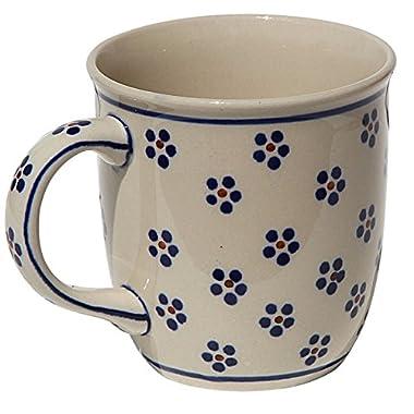 Polish Pottery Mug 12 Oz. From Zaklady Ceramiczne Boleslawiec #1105-225 Classic Pattern, Capacity: 12 Oz.