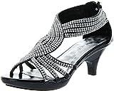 Delicacy Womens Angel-37 Strappy Rhinestone Dress Sandal Low Heel Shoes,Black,8.5