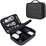 """Electronic Organizer, BAGSMART Cord Organizer Travel, Large Electronics Accessories Organizer Bag Double Layer for Tablet 10.5"""", Mouse, Adapter, Cables, Black"""