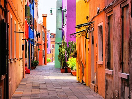 Colorful Street In Burano Italy Europe Art Poster 23  X 17