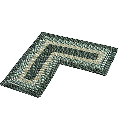 Collections Etc L-shaped Corner Kitchen Laundry Bath Braided Rug, Green
