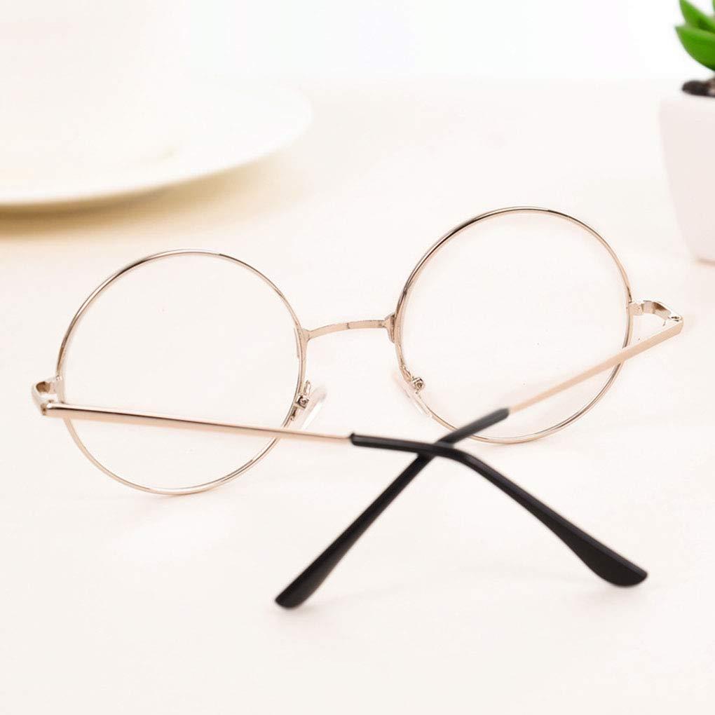 Busirde Uomo Donna Ragazze Retro Rotondo Cerchio degli Occhiali della Struttura del Metallo Occhiali Lenti Trasparenti Eyewear dellocchio