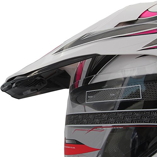 Motocross Dual Sport Off Road Dirt Bike ATV Motorcycle Helmet 406_179 Pink/White w/Visor (Med)