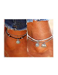NewChiChi Cute Elephant&Sunflower Boho Layered Ankle Bracelets Rope Adjustic Anklets Handmade Beach Foot Jewelry Women Girls
