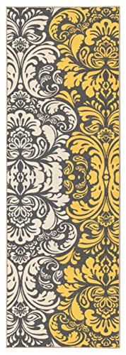 (Kapaqua Custom Size Yellow & Ivory Floral Damask Rubber Backed Non-Slip Hallway Stair Runner Rug Carpet 31 inch Wide Choose Your Length 31in X 23ft)