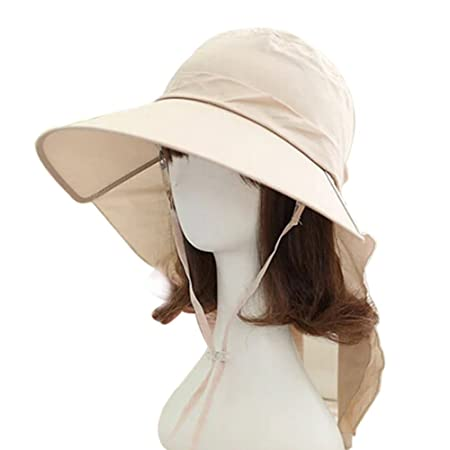 TININNA Large Wide Brim Sun Hat Sun Visor with Neck Flap Protection Neck  Cover Cord for fa9a4016d1f