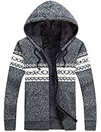 Men's Casual Slim Fit Full Zip up Sherpa Lined Hoodie Cardigan Sweaters