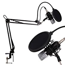 CAHAYA Recording Microphone Professional Studio Broadcasting Recording Condenser Microphone with Suspension Scissor Arm Stand Shock Mount and Mounting Clamp Kit - (Black)