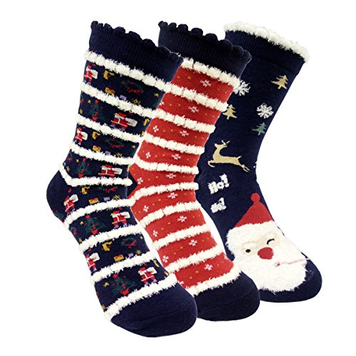 HZYMS 3D Cute Christmas Santa Claus Fuzzy Socks Womens Winter Crew Socks 3 Pairs Gift Box Package (snowman 3 packs) (Snowman Buys)
