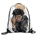 ADMR Unisex Hip Hop Men Gesture Basics Classic Lightweight Drawstring Gym Sackpack Backpack For Hiking Swimming Yoga