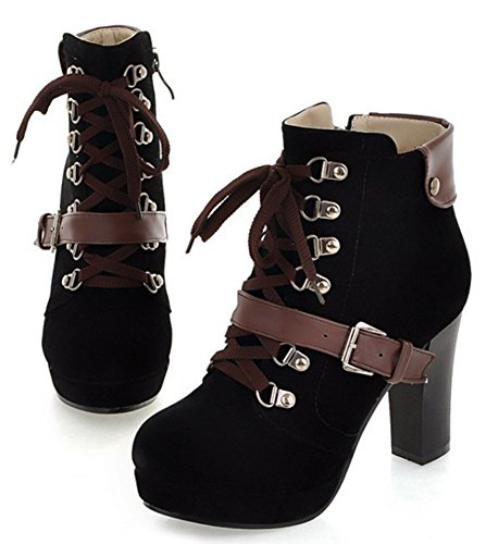 Vintage Boots Martin Chunky Heel Up Black Platform Lace Side Up Zip Women's IDIFU High f5wq6a