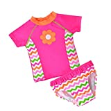 Baby Toddler Girls 2 piece Rose Rash Guard Flower Lovely Bathing Suit 6T