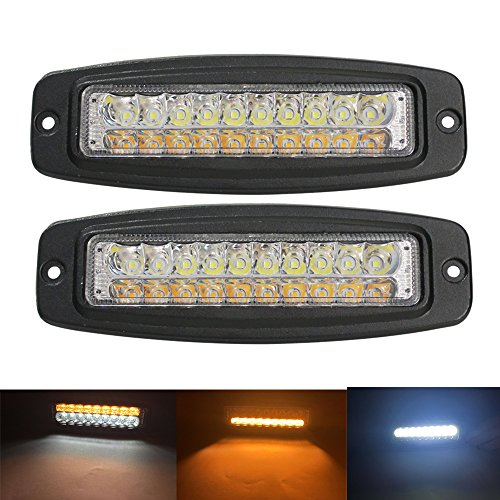 Flush Mount Led Light Bar, Samlight Waterproof 7.5 inch 30W Spot Single Row Off Road Driving Light Reverse Turn Signal Amber Lamp Daytime Running Light for SUV ATV 4WD Car Truck Golf Cart, 2 PCS ()