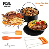 Deep Fryers Universal Air Fryer Accessories Including Cake Barrel,Baking Dish Pan,Grill,Pot Pad, Pot Rack with Silicone Mat, Silicone Brush by Bellagione (7 Plus 1 Pcs)