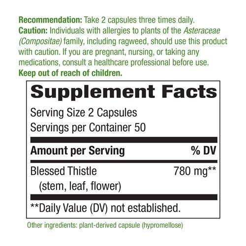 Natures Way Blessed Thistle, 390 milligrams Per Cap, 100 Vegetarian Capsules. Pack of 3 bottles