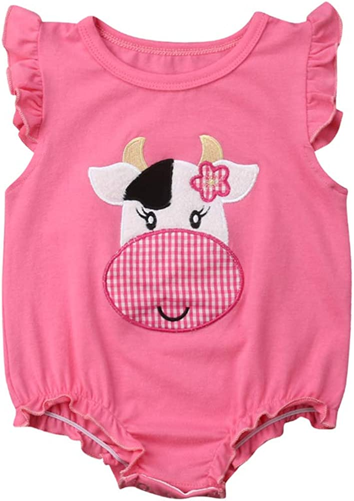 Newborn Baby Girl Summer Outfits Kids Cute Ruffle Cartoon Animal Cow Print Bodysuit Romper Sunsuit Clothes