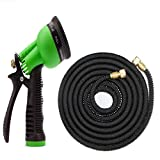 Cantroch Expandable Garden Hose, with Solid Brass Connector,50ft Strongest Expanding Garden Hose No Leakage Durable 6 Function Spray Nozzle for All Your Watering Needs(Black)