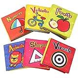 TOP BRIGHT Stoffbuch für Babys ab 6 Monate,Soft-Bilderbuch weiches Babybuch Pädagogisches Babyspielzeug Junge Mädchen ab 1 (Packung mit 6)