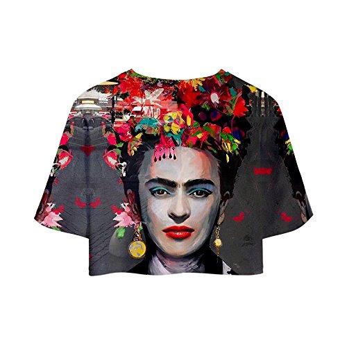 Stampa Kahlo 2018 XXL 3D CTOOO Casuale 06 Maglietta XS Donna Frida Corta Pantaloncini xIqd40a
