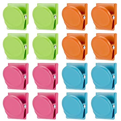 Magnetic Metal Clip - 16Pack Magnets Clips Colorful Refrigerator Whiteboard Wall Magnetic Memo Note Clip Metal Clip