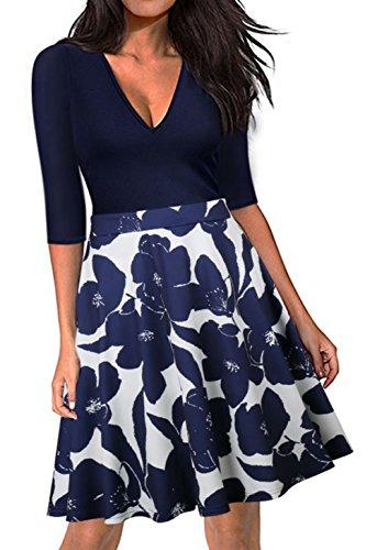 retro vestido de cóctel y de elegantes Audrey de rodilla de 50s oscilación de Scothen una noche los la vestidos hasta Blue línea imperio Rockabilly vestidos la burbuja Hepburn del falda cintura vtgq4