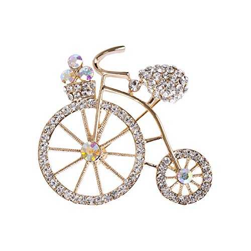 sourjas Flower Girl Jewelry Clear Crystal Gold Brooch Bike Bicycle Art Deco Collar Pin for Bridal Wedding Banquet