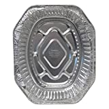 """Durable Packaging 40010 Disposable Aluminum Oval Roasting Pan, Extra Large, 18-1/2"""" X 14"""" X 3-3/8"""" Deep (Pack of 50)"""