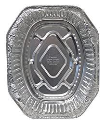 Durable Packaging 40010 Disposable Aluminum Oval Roasting Pan, Extra Large, 18-1/2\
