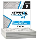 Aerostar Pleated Air Filter, MERV 8, 20x20x1, Pack of 6, Made in the