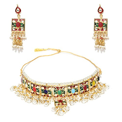 Designer Set Pearl - Retailbees Finekraft Meena Kundan Indian Bridal Wedding Designer Gold Plated Pearls Choker Necklace Jewelry Set