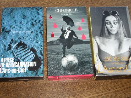 L'Arc-en-Ciel (3) Import Videocassettes by Sony Music Japan and KI/OON Records 1995-1999 with Posters and Lyrics! CHRONICLE, A PIECE OF REINCARNATION and AND SHE SAID. Plays on USA VCRs (VHS ()