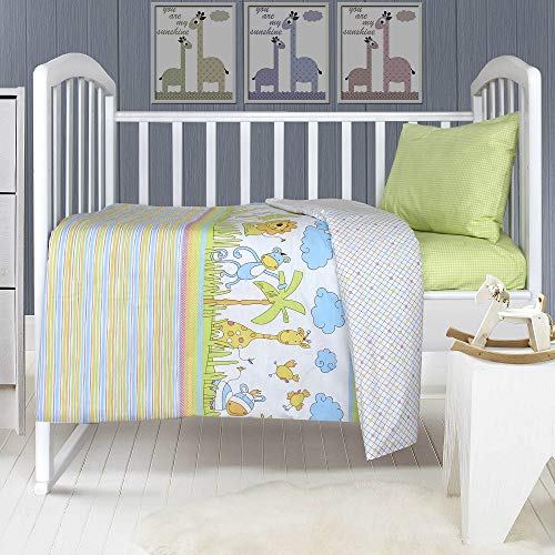 "LikeaHome Baby Crib Duvet Cover Set - 100% Cotton 3-Pieces: Duvet/Quilt Cover, Fitted Sheet, Pillowcase, Boy/Girl Soft Healthy Bedding Infant, Toddler Standard Crib (52""x28"") Made in Europe, Green from Likeahome"