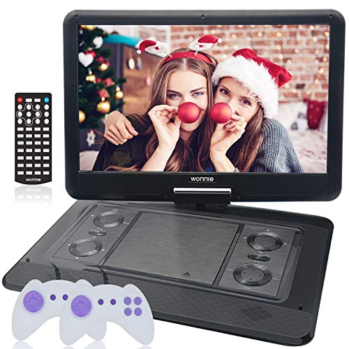 "WONNIE 15.6"" Large Portable DVD/CD Player with HD 1366x768 LCD TFT 270° Swivel Screen, Games/USB/SD Card Readers and Built-in Rechargeable Battery, Great Gift for Kids (Black)"