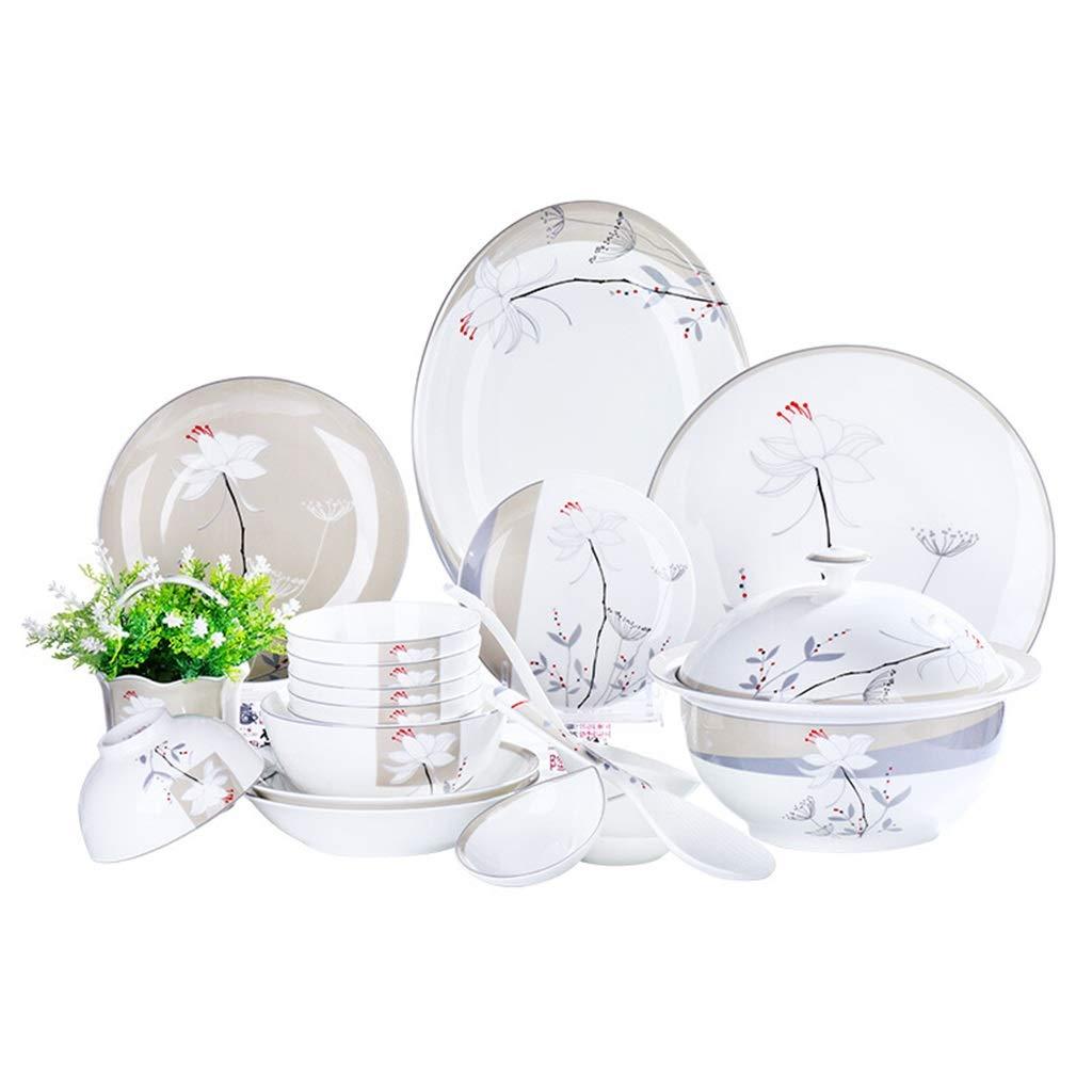 Cena Combi-Set - Juego de 40 piezas, tazones de porcelana, plato ...