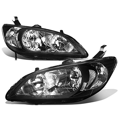 Pair of Black Housing Clear Corner Headlight Lamp for Honda Civic 04-05 Coupe Sedan ()