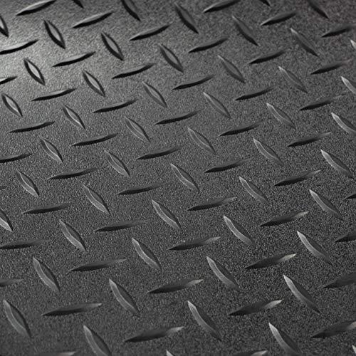 RV Trailer Diamond Plate Pattern Flooring | Black | 8' 2' Wide | Rubber Flooring | Garage Flooring | Gym Flooring | Toy Hauler Flooring | Car Show Trailer Flooring (Black, 25')