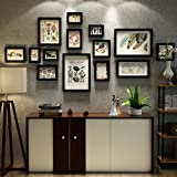 LQQGXL Photo frame collage 14 box wood black and white living room wall decoration Photo frame ( Color : Black )