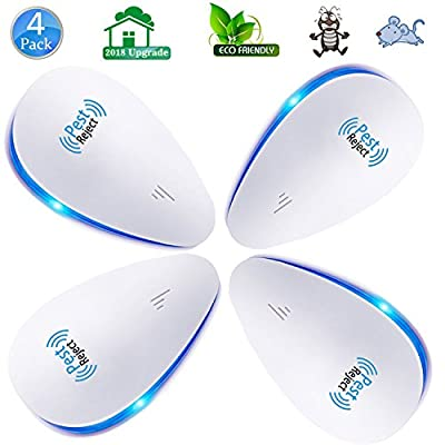 VNEED Ultrasonic Pest Repellent - Electronic Pest Repeller Control for Insect Mice, Mouse, Bugs, Flea, Fly, Spiders, Mosquitoes, Roaches, Ants, 2018 Upgraded (4 Pack)