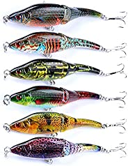 Juemenzhe Water Fishing Lures,Floating Popper,Hard Lures with Strong Hooks,Bass Crankbait 4pcs