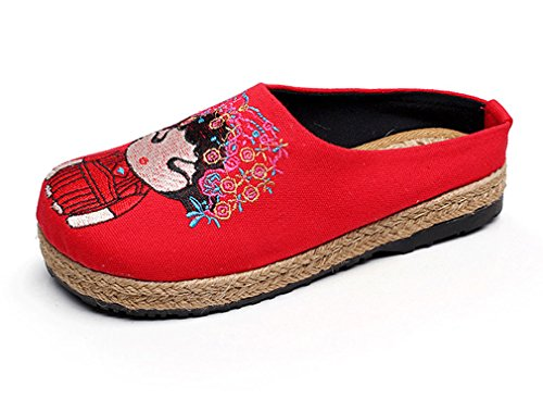 Soojun Womens New Exotic Embroidered Cartoon Espadrille Slipper Red NCRCgpzl