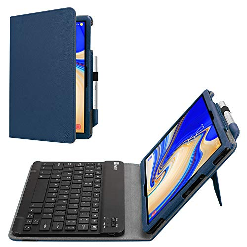 - Fintie Folio Keyboard Case for Samsung Galaxy Tab S4 10.5 2018 Model SM-T830/T835/T837, Premium PU Leather Stand Cover with Removable Wireless Bluetooth Keyboard, Navy