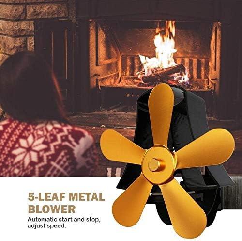KUANGQIANWEI Holzofen Winderhitzer Fan 5-Klingen-Aluminium-Low Noise Haushalt Wärmeverteilung Gebläsebrenner Kühlerlüftungsgerät Kamin (Color : 4 Blade 02) 5 Blade B