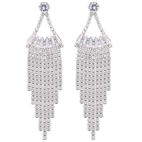 Stylebar Tassel Drop Earring CZ Crystal Sector Shape Long Chain Dangling Bridal Dangle Earrings for Wedding Brides Women Girls Clear Silver Tone