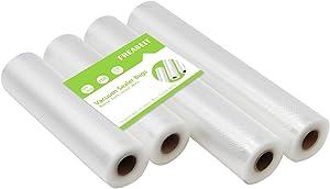 FREASEIT Food Vacuum Sealer Bag Rolls for Food, BPA Free Heavy Duty Plastic Sealer Vacuum Packing Bags for Food Saver (2 rolls 8