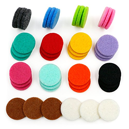 42pcs Replacement Refill Pads(22mm) for Aromatherapy Essential Oil Diffuser Necklace with 14 Colors Aromatherapy Refill