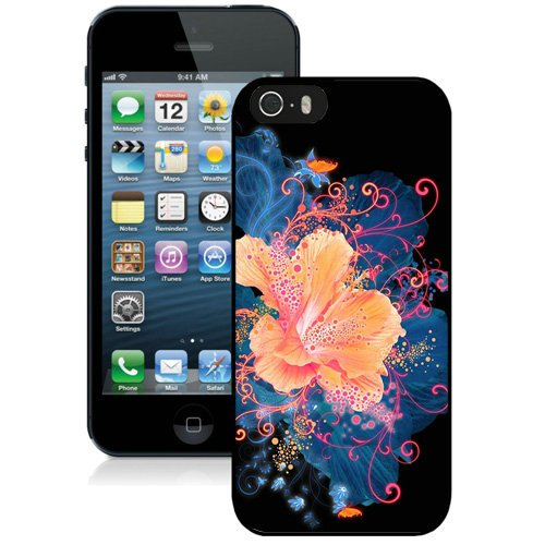 Coque,Fashion Coque iphone 5S Hd Abstract Flower Neon Painting Noir Screen Cover Case Cover Fashion and Hot Sale Design