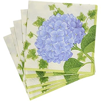 Entertaining with Caspari Hydrangea Cocktail Napkins (20 Pack), Purple