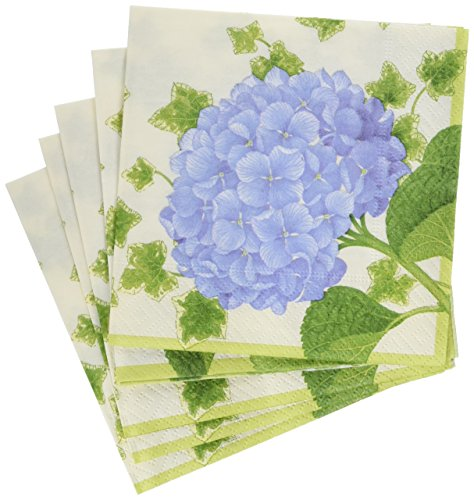 Napkins Hydrangea - Entertaining with Caspari Hydrangea Cocktail Napkins (20 Pack), Purple