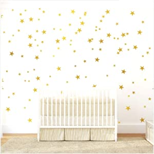Gold Stars Wall Decal (130 Decals) Stars Pattern DIY Wall Stickers Removable Home Decoration Metallic Vinyl Polka Wall Decor Sticker for Bedroom