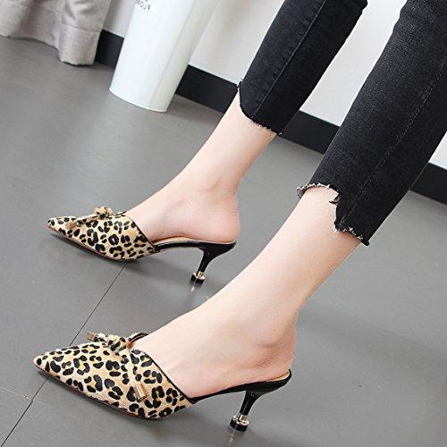 Xue print sandalias color Leopard húmedos zapatos zapatillas y mujer mitad Pajarita de Qiqi Baotou Sugerencia fríos ranurada a6xr6Z